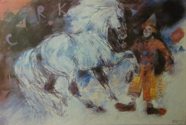 Cyrk Klown i kon, Circus Clown and Horse, Lustyk Boguslaw